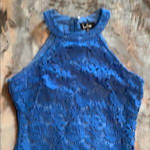 Sexy blue lace mini dress